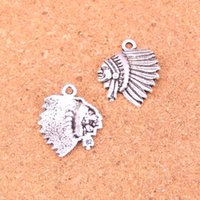 hint antik gümüş takılar toptan satış-94 adet Antik Gümüş Kaplama Avrupa Avrupa Takı için indiana kafa Charms Kolye Takı Yapımı DIY El Yapımı 21 * 18mm
