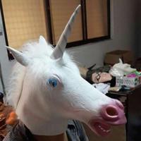 Wholesale Creepy Unicorn Costumes - Factory Price! Creepy Unicorn Head Latex Mask Halloween Costume Theater Prank Prop Crazy Masks
