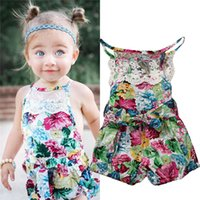 Wholesale Short Overalls For Baby Girls - kids overalls for girls children Knitted Cotton jumpsuit baby cute floral romper little girl boutique clothes angle bodysuit infant onesies