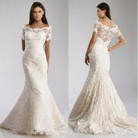 Wholesale Scalloped Hem Lace Wedding Dress - 2016 Fit-to-flare Gown Lace Wedding Dresses Vintage Off Shoulder Neckline Short Sleeves Scalloped Hem Bridal Gowns