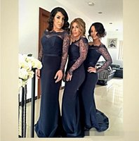 Wholesale Navy Blue Formal Dress Juniors - 2016 Sheer Long Sleeve Bridesmaid Dresses Navy Blue Satin Sheath With Sexy Lace Junior Wedding Party Dress Cheap Price Vestidos Formal Gowns