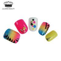 Wholesale Acrylic Short Nails - Wholesale-24PCS False Nails Tips Press On Manicure Gel Polish False Tips Nail Art Design Short Length Artificial Pre-glue Nails Design