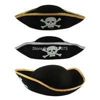 Wholesale Wholesale Pirate Party Supplies - Wholesale-Movie Pirates Of The Caribbean Captain Hat Bandanna Cap Pirate Hat Halloween Caps Props Cosplay Event Party Supplies 50pcs lot