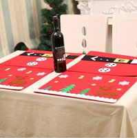 Wholesale Dining Forks - Christmas Dining Table Mats Snowmen Elk Placemats Tableware Mats Knife Fork Mat Holiday Party Table Decor OOA2409