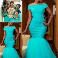 nigerianische kleider für partys großhandel-South Africa Style nigerianischen Brautjungfernkleider Plus Size Mermaid Trauzeugin Kleider für Hochzeit Off Shoulder Türkis Cocktail-Party-Kleid