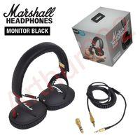 kopfhörer kopfhörer hifi bass großhandel-Marshall Monitor Faltbare Kopfhörer mit MIC Leder Noise Cancelling Deep Bass Stereo-Kopfhörer-Monitor DJ-HiFi-Kopfhörer-Telefon-Headset