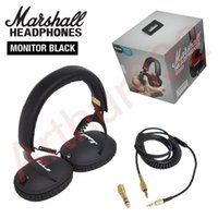 Wholesale Dj Monitor - Marshall Monitor Foldable Headphones with MIC Leather Noise Cancelling Deep Bass Stereo Earphones Monitor DJ Hi-Fi Headphone Phone Headset