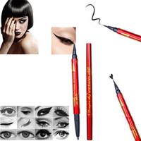 Wholesale Eyeliner Case - Wholesale- 1 PC Beauty Red Case Women Lady Liquid Eyeliner Eyebrow Double Black Brown Pencil Make Up Waterproof Tools NEW