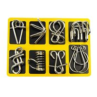 Wholesale Iq Style - Wholesale-Montessori Materials 8pcs set Metal Wire Puzzle Iq Mind Brain Teaser Puzzles Game For Adults And Kids 3 Style