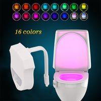 Wholesale Motion Activated Sounds - Upgraded 16 Colors Motion Sensor LED Toilet Light Motion Activated Night Lights Bathroom Washroom Bowl LED Lamp