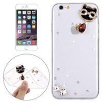 Wholesale Iphone Back Glass Diamond - For iPhone 6&6s Diamond Encrusted Glasses Cat Pearl Bell Pattern Soft TPU Protective Case Back Cover