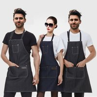 Wholesale 2017 New Aprons Denim Simple Antifouling Uniform Unisex Adult Aprons for Woman Men s Male Lady s Kitchen Cooking Pinafores