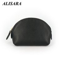 Wholesale Leather Shell Pouch Design - Wholesale- Women's Wallets Brand Genuine Leather Shell Design small Coin Purses Storage Bag Zipper Pocket Key Pouch Money bag Change Purse