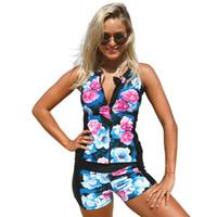 Wholesale Floral Tankini Top - Sexy Women Swimwear Swimsuit Push Up Printed Slim Bikini Set Tankini Top Summer Beach Bathing Suits Swim Wear