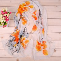 Wholesale Silk Scarfs Neck - Hot Fashion Thin Shawl Turban Scarf Chiffon Wash Painting Print Hijab Neck Warmer Chiffon Scarf Women Girls Cape 50*160 Long Headband