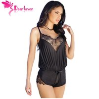 Wholesale Cheap Hot Sexy Clothes - Hot Selling Sexy Ladies Shorts Sleepwear Black Eyelash Lace Romper with Shoulder Strap LC32017 cheap clothing china 17410