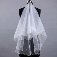 Wholesale Lace Pearl Meter - Free Shipping One Layer Lace Tulle 1.5 Meters Short Bridal Veils Cheap Hot Sale White Ivory Pearls Short Wedding Veil High Quality