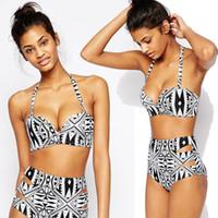weißer taillierter bikini großhandel-Bademode Badeanzüge Damen Neckholder Geometric Badeanzug Badeanzug Bikini schwarz weiß Hotsale