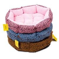 Wholesale leopard print cotton bedding - Leopard Print Cotton Round Solid Pet Dog Cat Fleece Warm Bed House Plush Cozy Nest Mat