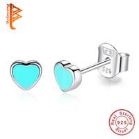 gümüş pırlanta taşlar toptan satış-BELAWANG Otantik% 100% 925 Gümüş Kalp Şekli Damızlık Küpe Kadınlar için Moda Hakiki Takı MaviPembe Emaye Parti Hediye