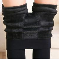 Wholesale Super Slimming Leggings - 8 Colors S-XL Winter Plus Cashmere Leggings for women Casual Warm Plus Size Faux Velvet Knitted Thick Slim Super Elastic Leggings BY DHL