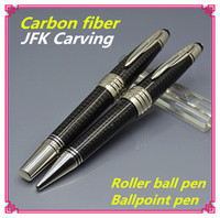 Wholesale Element Carbon - AAA+ quality New element Black carbon fibers brand Roller ball pen with JFK cap office writing smooth MB ballpoint pens for John Kennedy