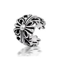 bagues creuses achat en gros de-Hommes vintage en acier inoxydable ouvert creux anneaux designer titane acier métal anneaux mixtes bijoux accessoires