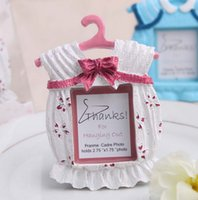 Cute Baby Themed Photo Frame Resin Clothes Mini Frame de Fotografia Wedding Favor Baby Shower Gift Pink and Blue + DHL Frete Grátis