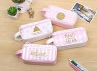 Wholesale Korean Boy Stationery - New Korean style Large Capacity Multifunctional Canvas Pencil Cases Leather Pen Bags Box for Boys Girls School Stationery Free Delivery