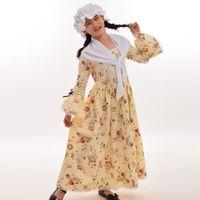 bürgerkrieg kleid xxl großhandel-Bürgerkrieg Kinder Kolonial Kostüm Kind Mädchen Pioneer Puritan Kleider White Hat Mini Cape Reenactment Outfi