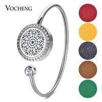 Wholesale Scented Crystals - 25mm Essential Oil Scent Locket Stainless Steel Bangle Fit 18mm Felt Pads with Crystal without Felt Pads VA-592