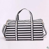 Wholesale New bag han edition stripe bag female short luggage PU leather luggage high capacity portable gym bag