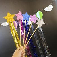 Wholesale Wholesale Photo Magic - Kids Princess Star Fairy Wand Sticks Children Magic Sticks Photo Props Birthday Party Favors Supplies