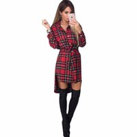Wholesale Grid Floor - Wholesale- 2017 Spring autumn print grid dress sexy long sleeve office dress Bodycon Bandage street dress fall Robe Pull Femme Hiver Vest