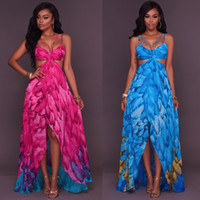 Wholesale Adult Sexy - 2017 Women Sexy Feather Party Dresses New Pattern Camisole Printing Dress Seaside On Vacation Beach Longuette Woman Chiffon Adult