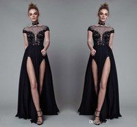 Wholesale Showing Back Prom Dress - High Split 2017 Runway Fashion Show Evening Dresses Lace Sheer NeckApplique Cap Sleeve Prom Dresses Chiffon A Line Formal Party Gowns