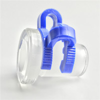 Wholesale male clip - 10mm female to 14mm male 14mm female to 18mm male Mini Glass Adapter with Plastic Keck Clip Blue Water Pipes Glass Bong Adapter