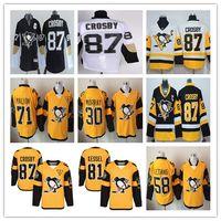 camisetas de pittsburgh 58 al por mayor-Serie de estadios 2017 Pittsburgh Penguins Hockey Jerseys 87 Sidney Crosby 30 Matt Murray 58 Kris Letang 71 Evgeni Malkin Jersey Amarillo Negro