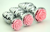 Wholesale Screw Anal - Free shipping Metal Screw Thread Butt Anal Plug Stainless Steel Butt Plug+Pink Rose Decorate Anal Sex toys Product