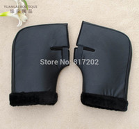 Wholesale Motorcycles Handlebars Gloves - Wholesale- High Quality PU Leather Motorcycle motor Handlebar Muffs Snowmobile Waterproof Winter Hand Warm Covers Gloves Handle Bar Muffs