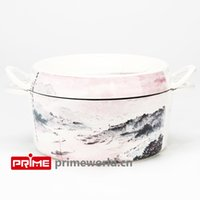Wholesale Prime Enameled Cast Iron Covered Dutch Oven Casserole White Color Painting Enamel Cookware Round Doufeu Cooking Dish The morning glow