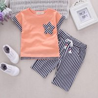 Wholesale Girls Plaid Tops - Summer kids clothes boys stripe clothes boys short sleeve top+short pant set 2 pieces children clothes suit