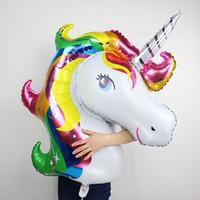 Wholesale Unicorn Balloon - 2017 rainbow unicorn balloons fashion cartoon animal helium float globos kids birthday party decoration ballons child love toys
