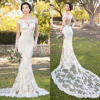 Wholesale long chen - Modest Kitty Chen Mermaid Wedding Dresses Long Sleeve Full Lace Applique Bridal Gowns Off The Shoulder Court Train Wedding Dress