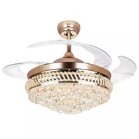 Wholesale led ceiling lamp modern - 42-inch Modern LED Crystal Ceiling Fans 42inch Remote Control Chandelier Ceiling Fan Light with 4 Invisible Retractable Blades Pendant Lamp