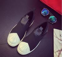 ingrosso sandali neri bassi-2017 Estate SUPERSTAR SLIP ON Sandali Mocassini per uomo Donna testa incrociata tracolla bianco e nero basso Tops unisex sneakers 36-44