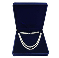 Wholesale Strings Pearls - velvet jewelry box long pearl necklace box gift box for double strings sold per bag of 2 pcs