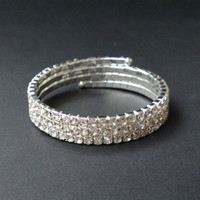 Wholesale Silver Ring Singapore - 3 Rows Bridal Wedding Spiral Rhinestone Crystal Stretch Bracelets Bangle Silver Plated and Gold Plated Jewelry Accessories for Women