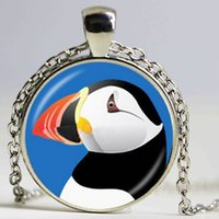 Wholesale Black White Cabochon - Cute Puffin Photo Necklace Black and White Nautical Bird Pendant Animal Jewelry Glass Cabochon Charm Neckless Sweater Accessory