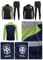 Wholesale Flash Pants - Hot football jerseys-Brazil training suits Uniforms shirts Chandal NEYMAR JR tracksuits Survetement long sleeve tight pants With zipper